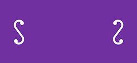 Imagotipo de S de Stendhal en morado sobre blanco