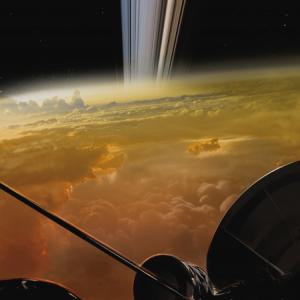 Recreación de la Nasa de las últimas imágenes tomadas por la Sonda Cassini antes de estrellarse contra Saturno.