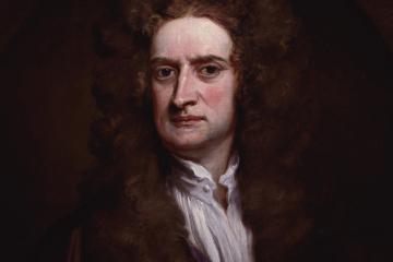 Retrato de Sir Isaac Newton como carátula de un capítulo de A Ciencia Cierta: Isaac Newton