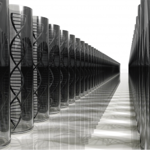 Dibujo 3D de hebras de ADN como carátula de un capítulo de A Ciencia Cierta: Secuenciación del ADN y aplicaciones
