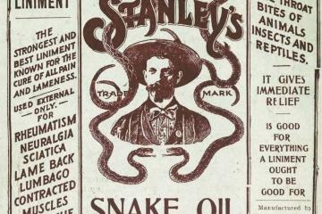 Pegatina de un frasco de aceite de serpiente.