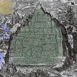 Grabado de la tabla esmeralda del siglo XVII hecho por el alquimista, hermético y físico Heinrich Khunrath como portada del capítulo de A Ciencia Cierta: De la alquimia a la química.