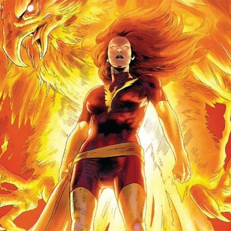 """Dibujo de Jean Grey como Fénix como portada del programa de """"La ciencia de los superhéroes"""" de A Ciencia Cierta"""