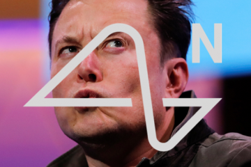Elon Musk con el idiotipo de Neuralink