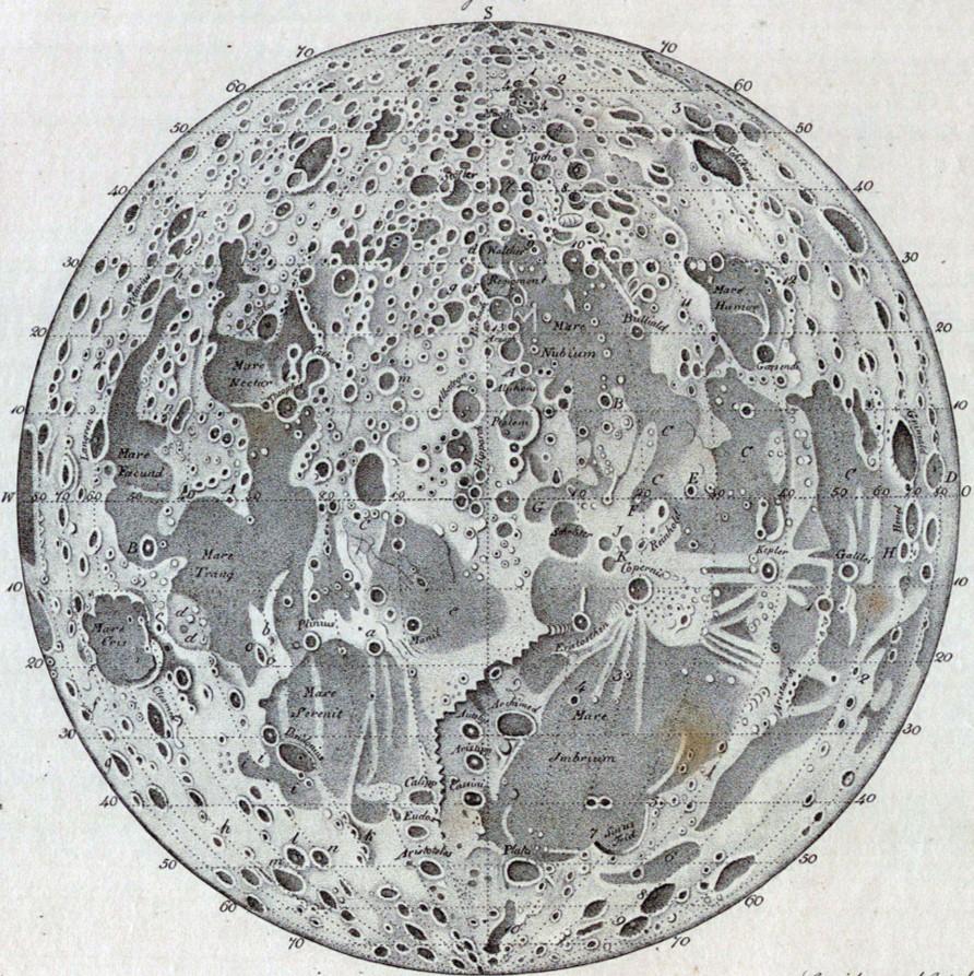 Mapa de la orografía lunar hecho en 1842 como portada del capítulo de A Ciencia Cierta: Apolo 11