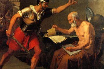 Cuadro de Domenico Udine en 1815 donde representa la muerte de Arquímedes a manos de un soldado romano como portada de A Ciencia Cierta en el capítulo: Arquímedes, el mayor científico de la antigüedad