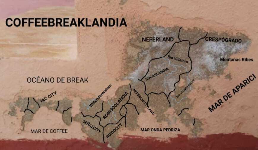 Mapa de  Coffeebreaklandia hecho editado por el gran Juan Carlos Ortega a partir de un desconchón de María Ribes.