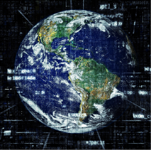 Una imagen de La Tierra con números, ecuaciones y filigranas matemáticas sin demasiado sentido. Está usado como portada del episodio de A Ciencia Cierta: Las matemáticas de la vida cotidiana.