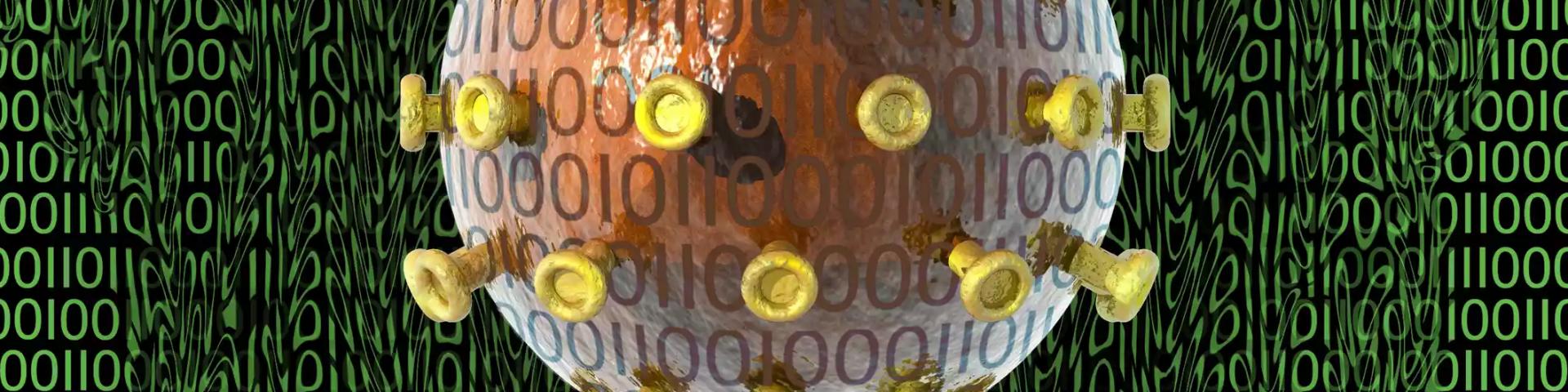 Representación artística de un virus informático como portada del episodio de A Ciencia Cierta: Las nuevas tecnologías contra la COVID-19